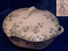 Johnson Bros Hop Pattern Semi Porcelain Round Covered Serving Bowl Chip on Lid