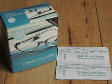 30 Optical Lens Smear free Wipes Spectacle Glass Cleaners