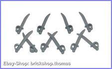 Lego 10 x Säbel - 2530 - Weapon Sword Cutlass - Dark Bluish Gray - NEU / NEW