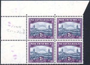 South Africa 1950-1 2d blue & violet, VIOLET INK SMUDGES, SG.134, UM