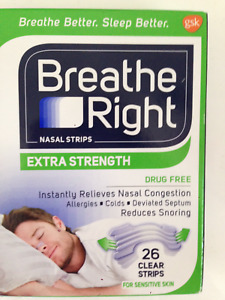 BREATHE RIGHT EXTRA STRENGTH 50% STRONGER 26 CLEAR NASAL STRIPS STOP SNORING