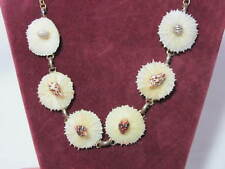 Vintage Unusual White Seashell Necklace Chain with Tiny Seashells on Top