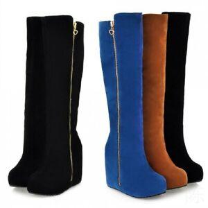 Womens Side Zip Platform Hidden Wedge Knee High Boots Winter Shoes Plus Sz 34-43