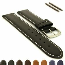Men's Genuine Leather Watch Strap Band Genk Stainless Steel Buckle Spring Bars