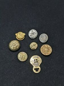Loft Of 8 Vintage Brass Gold Tone Silver Tone Buttons Craft DIY