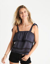 American Eagle Outfitters Ruffle Tie Tank Top Extra Small