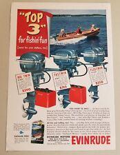 1951 Print Ad Evinrude Outboard Motors Big Twin 25HP,Fastwin,Fleetwin
