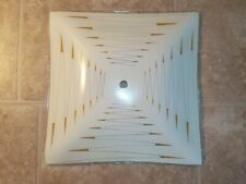 "Vintage Ceiling Light Cover Shade Glass Square 11.5"" Zigzag Mid Century"
