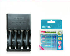 4pc KENTLI 1.5v 1100mWh AAA rechargeable lithium battery + 4 Slot AA AAA charger