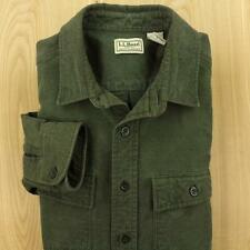 LL BEAN chamois flannel camp shirt sz LARGE dark green faded distressed