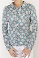 Womens White Stuff Shirt Teale Green Geometric Print Ladies Blouse Jersey Top