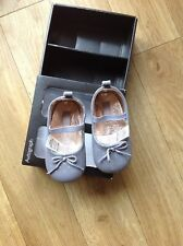 LEATHER BABY GIRLS PRAM SHOES AGE 0-3 MONTHS M&S AUTOGRAPH GREY MIX BRAND NEW