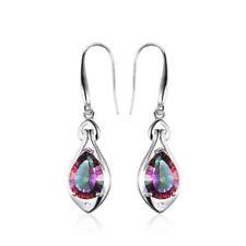 6.8ct Mystic Topaz Dangle Earrings Pure 925 Sterling Silver Fine Women Jewelry
