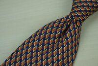 Stefano Ricci Tangerine Navy Jagged Geometric Silk Tie Made in Italy