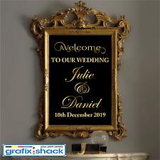 Custom Wedding Welcome Sign Decal Wedding Decor Mirror Sticker GOLD COLOUR