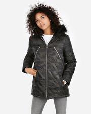 nwt EXPRESS camo camoflouge fur hoodie puffer coat jacket s
