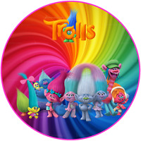 Personalised Poppy Troll edible printed premium icing Round Cake Topper Pre-Cut