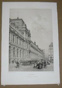 Gravure  Paris dans sa splendeur, Le Louvre nouvelle Façade rue de Rivoli