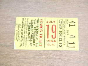 1964 Pittsburgh Pirates v Milwaukee Braves Baseball Ticket Hank Aaron Clemente