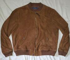 $895 Polo Ralph Lauren Brown Suede Leather Bomber Flight Jacket Coat rrl XL