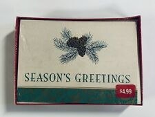 NEW HALLMARK Classic Gold Pine Cone Tree Holiday Christmas Cards & Envelopes