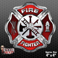 "Firefighter ""RED CROSS"" Sticker - Vinyl Decal Maltese Fire Window Dept #FS2020"