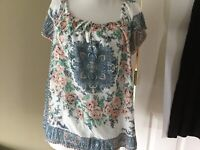 Joie Pink Green Blue Ivory Floral Silk Lined Short Sleeve Blouse Top Sz S Tie