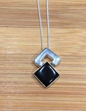 Solid Silver Whitby Jet Large Square Hinged Pendant And Chain Brand New J671