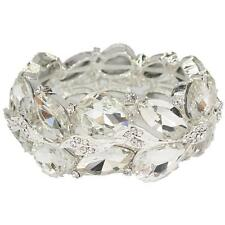 Elegant Bridal Formal Pageant Silver Clear Crystal Bangle Fashion Bracelet