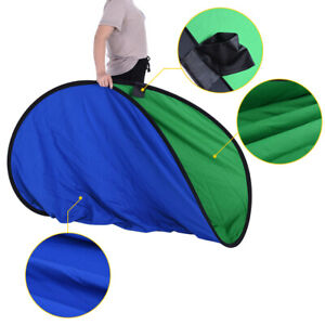 Background Panel Screen Photo Studio Popup Backdrop Oval Collapsible Blue&Green