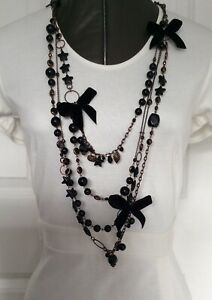 Mikey London Costume Jewellery Long Necklace Black Beads Mixed Charms Bows MN1