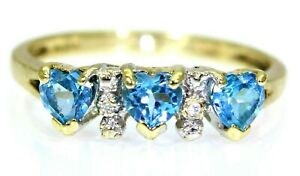 Pretty Topaz Heart & Diamond Trilogy 9ct Yellow Gold ring size M ~ US 6 1/4