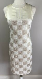 Moss & Spy - Ivory & Gold - Lace, Silk Dress - Size 10 - Preowned