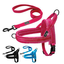 No Pull Dog Harness and Lead set Reflective Fleece Front Clip Pet Walking Vest