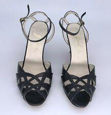 Vintage Garolini Black Strappy Stiletto Heels Sandals, Size 6.5 M Made in Italy