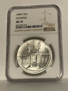 1984-P Silver Olympic $1 NGC MS 70  - Perfect & Rare