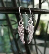 Silver Mini Feather Angel Wing Earrings Drop Dangle