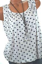 Sommer TOP Tunika gepunktet Shirt Bluse Dots 40 42 44 Weiß Blau NEU Italien Mode