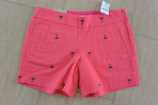 "NWT J Crew Womens Chino City Fit Cotton Shorts 5"" Inseam Pink Palm Tree Size 2"