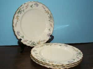 """LOT OF 4 NORITAKE BROOKHOLLOW DINNER PLATES 10.5"""" NEVER USED FREE U S SHIPPING"""