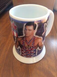 WWF WWE Danbury Mint Kurt Angle Cup Wrestling Mug Glass Limited Ed Collector