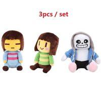 "3PC/Set Undertale Frisk Chara Sans Plush Doll Stuffed Animal Toy 8"" Gift Cushion"