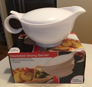 Insulated Gravy Server Boat Sauce Syrup Microwavable Thermal Warmer 2 Cups