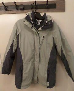 Columbia Women's Ski Jacket Green Mint Medium M Gray Zip-Out Liner Winter Coat