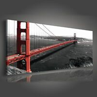 Canvas Wandbild XXL Bilder Leinwandbild Brücke New York Wohnzimmer Stadt See