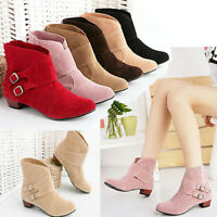 Women's Solid Ankle Boots Flat Casual Buckle Chunky Heel Shoes Casual Booties