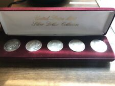 Lot Of 5 1883-1887 Morgan Silver Dollars Collection RAINBOW TONED* Velvet Case**