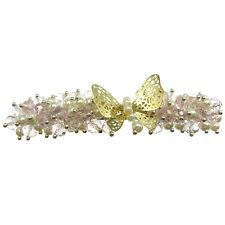 Barrette Pince à Cheveux papillon doré perles nacrées blanche cristal rose