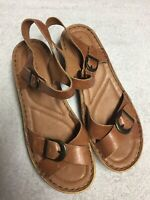Josef Seibel Women's Brown Leather Ankle Strap Casual Sandals Shoes Size 40 US 9