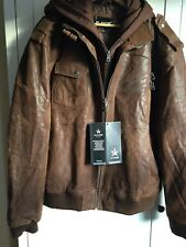 FLAVOR Mens Tan Leather Motorcycle Jacket, Removable Hood.3XL. Newwithtags